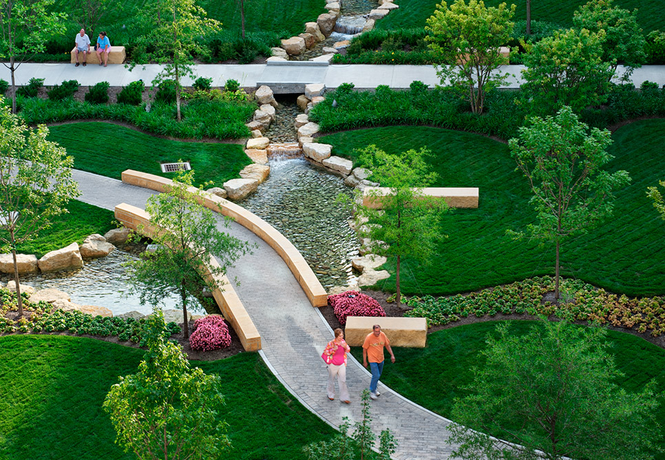 Miami valley hospital landscape design nbbj for Garden design and landscaping